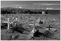 Cemetery and kiva, Picuris Pueblo. New Mexico, USA ( black and white)