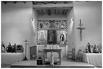 Altar, San Lorenzo Church, Picuris Pueblo. New Mexico, USA ( black and white)