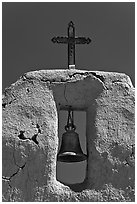 Bell, Cross and adobe wall,  San Lorenzo Church,. New Mexico, USA ( black and white)