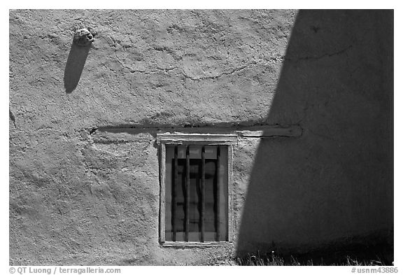 Wall and window detail, San Jose de Gracia Church. New Mexico, USA (black and white)