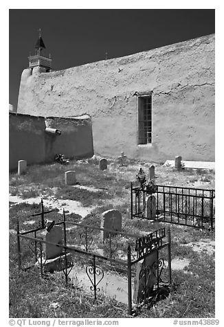 Cemetery, San Jose de Gracia church. New Mexico, USA (black and white)