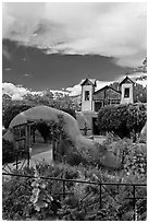 Grounds and shrine, Sanctuario de Chimayo. New Mexico, USA (black and white)