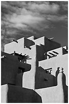 Loreto Inn in pueblo architectural style. Santa Fe, New Mexico, USA (black and white)