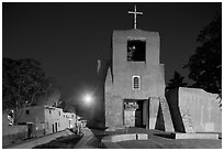 Oldest church and house in the US by night. Santa Fe, New Mexico, USA ( black and white)