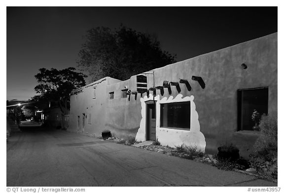 Street in Bario de Analco by night. Santa Fe, New Mexico, USA (black and white)