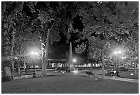 Park on the Plazza by night. Santa Fe, New Mexico, USA (black and white)