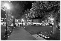 Plazza by night. Santa Fe, New Mexico, USA (black and white)