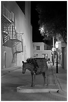 Street with sculpture by night. Santa Fe, New Mexico, USA ( black and white)