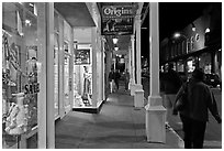Galleries and sidewak by night. Santa Fe, New Mexico, USA ( black and white)
