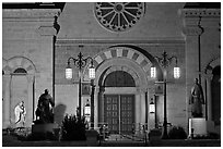 St Francis Cathedral by night. Santa Fe, New Mexico, USA (black and white)