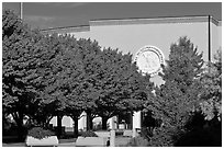 New Mexico State Capitol East entrance and trees. Santa Fe, New Mexico, USA ( black and white)