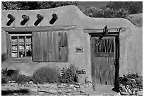 Adobe house. Santa Fe, New Mexico, USA (black and white)
