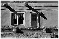 Adobe facade with flowers, windows, and vigas shadows. Santa Fe, New Mexico, USA (black and white)