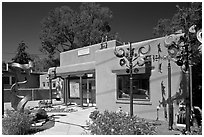 Art gallery and modern sculptures. Santa Fe, New Mexico, USA (black and white)