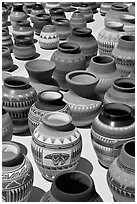 Pottery for sale. Santa Fe, New Mexico, USA ( black and white)