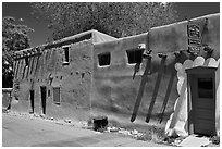 Oldest house in America. Santa Fe, New Mexico, USA ( black and white)