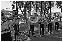 Mariachi band on old town plazza. Albuquerque, New Mexico, USA (black and white)