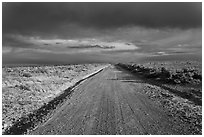 Primitive road under dark sky. New Mexico, USA (black and white)
