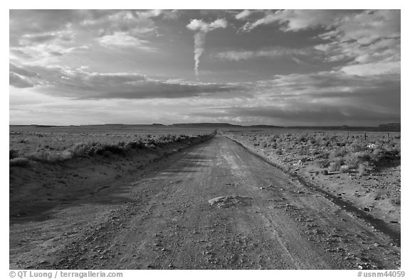 Unpaved road leading to Chaco Canyon. Chaco Culture National Historic Park, New Mexico, USA (black and white)