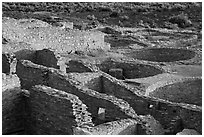 Rooms and kivas, Pueblo Bonito. Chaco Culture National Historic Park, New Mexico, USA (black and white)