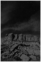 Stars over cliff. Chaco Culture National Historic Park, New Mexico, USA (black and white)