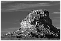 Fajada Butte, early morning. Chaco Culture National Historic Park, New Mexico, USA ( black and white)