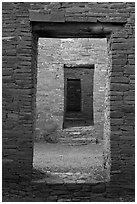 Chacoan doors. Chaco Culture National Historic Park, New Mexico, USA (black and white)