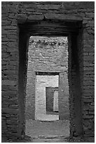 Chaco doorways. Chaco Culture National Historic Park, New Mexico, USA (black and white)