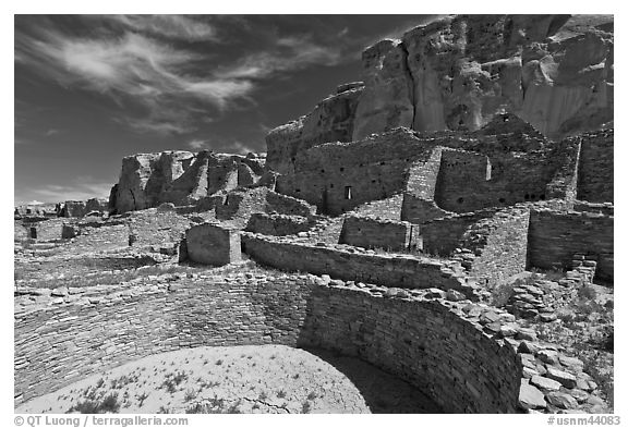 Ancient pueblo. Chaco Culture National Historic Park, New Mexico, USA (black and white)