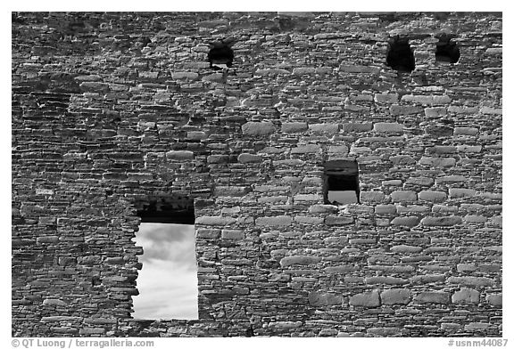 Masonery wall with openings. Chaco Culture National Historic Park, New Mexico, USA (black and white)