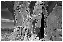 Canyon walls with petroglyphs. Chaco Culture National Historic Park, New Mexico, USA (black and white)