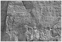 Pictographs. Chaco Culture National Historic Park, New Mexico, USA (black and white)
