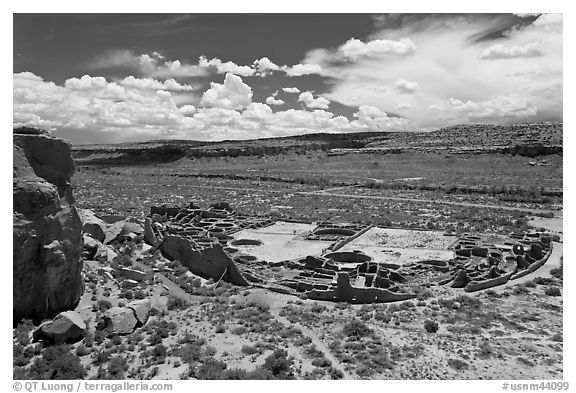 Pueblo Bonito from above. Chaco Culture National Historic Park, New Mexico, USA (black and white)