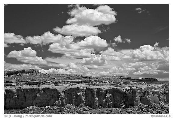 Cliff and clouds. Chaco Culture National Historic Park, New Mexico, USA (black and white)