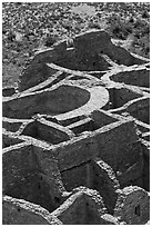 Rooms of Pueblo Bonito seen from above. Chaco Culture National Historic Park, New Mexico, USA (black and white)