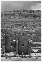Ruined pueblo and cottonwoods trees. Chaco Culture National Historic Park, New Mexico, USA ( black and white)