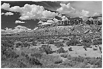 Rim cliffs and clouds. Chaco Culture National Historic Park, New Mexico, USA ( black and white)