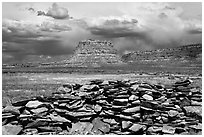 Wall and Fajada Butte, afternoon. Chaco Culture National Historic Park, New Mexico, USA ( black and white)