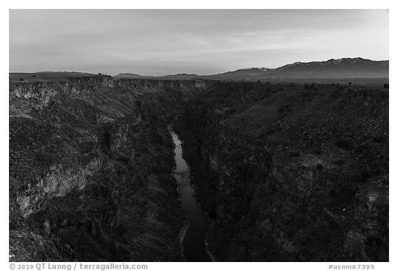 Rio Grande Gorge and Sangre de Cristo Mountains at dawn. Rio Grande Del Norte National Monument, New Mexico, USA (black and white)