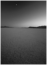 Playa and moon, sunset, Black Rock Desert. Nevada, USA (black and white)