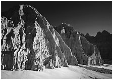 Cathedral-like spires and buttresses, Cathedral Gorge State Park. Nevada, USA ( black and white)