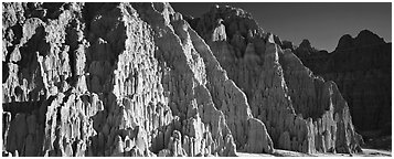 Desert erosion formations. Nevada, USA (Panoramic black and white)