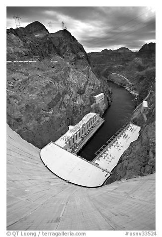 Power plant and Black Canyon seen from top of dam. Hoover Dam, Nevada and Arizona (black and white)