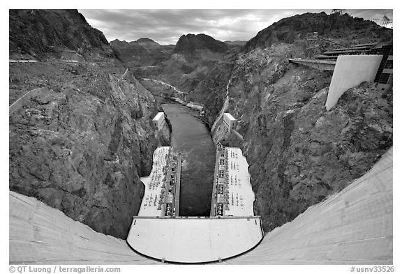 Dam, power plant and Black Canyon. Hoover Dam, Nevada and Arizona (black and white)