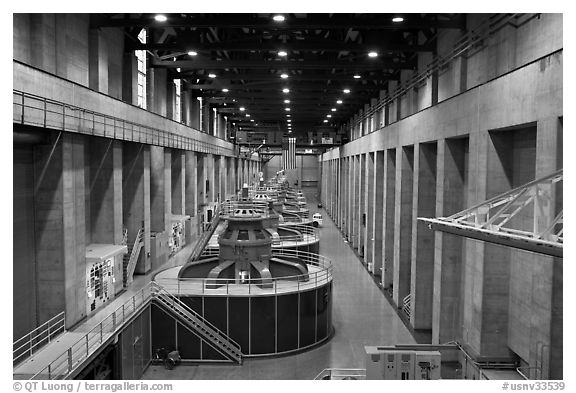 Generator gallery on the Nevada side. Hoover Dam, Nevada and Arizona (black and white)