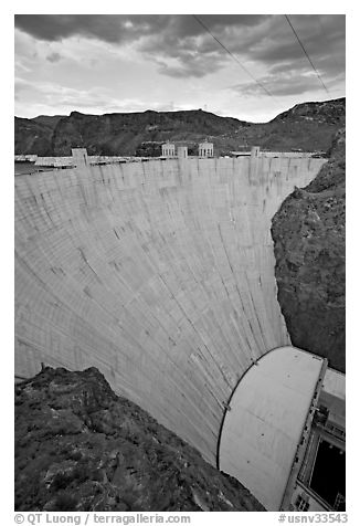 Profile view of arch-gravity dam. Hoover Dam, Nevada and Arizona (black and white)