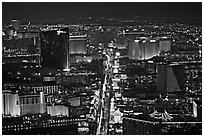 The Strip at night seen from above. Las Vegas, Nevada, USA ( black and white)