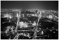 View from above at night. Las Vegas, Nevada, USA (black and white)
