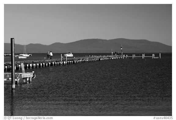 Long pier, South Lake Tahoe, Nevada. USA (black and white)