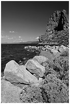 Sagebrush and Cave Rock, Lake Tahoe, Nevada. USA ( black and white)